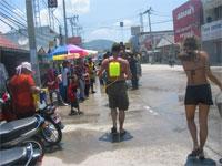 Thai water festival in Thongsala Town, Koh Phangan