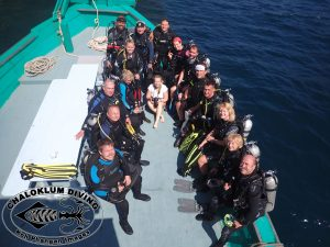 SCUBA Diving Team CZ on Chaloklum Diving boat in the Gulf of Thailand.